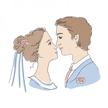 Bride and groom are looking at each other and going to kiss stock vector