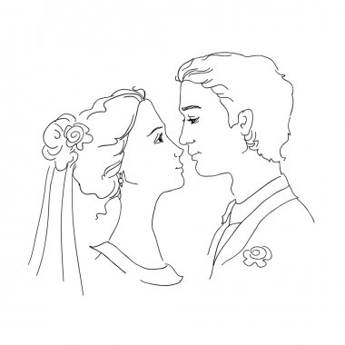Sketch of bride and groom. Man and woman are looking at each other and going to kiss stock vector