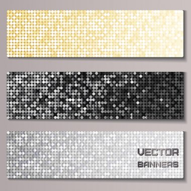 Set of banners with shiny metallic paillettes