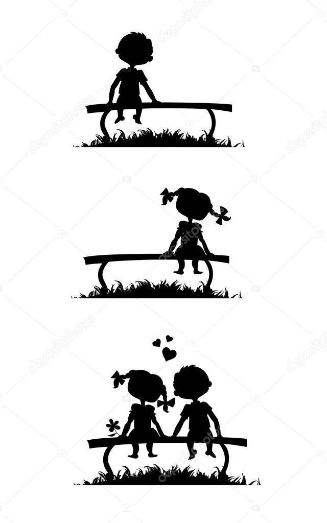 Silhouettes of boy and girl sitting on a bench