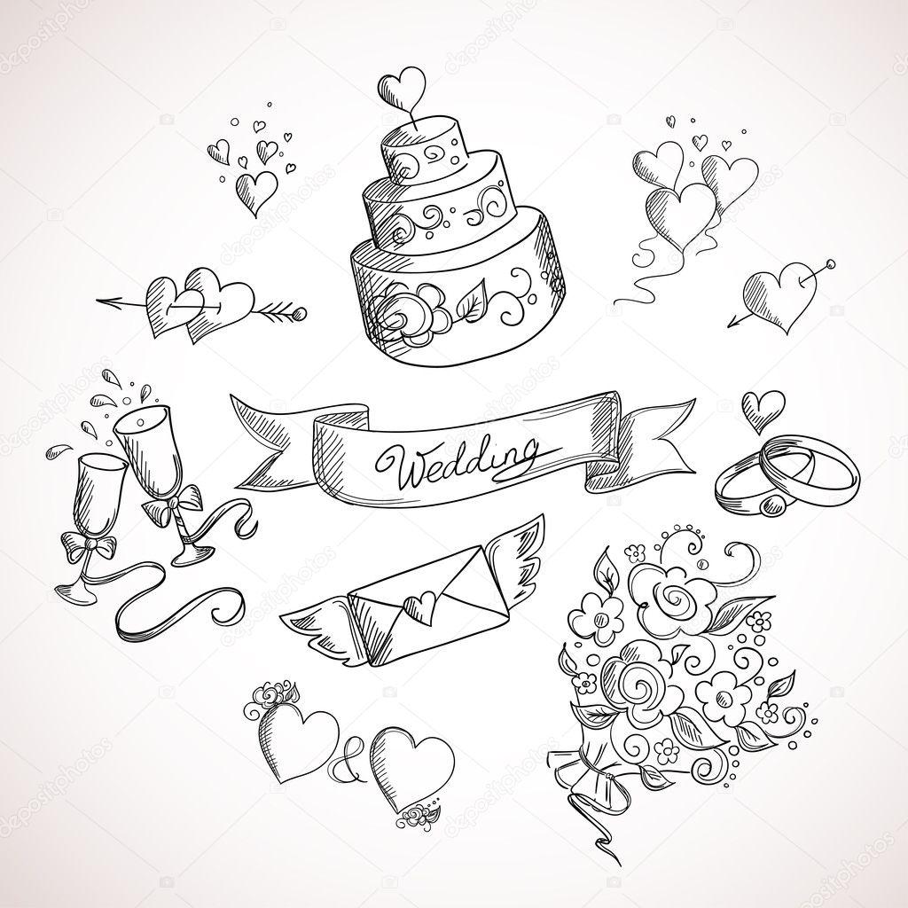 Schizzo di elementi di design di nozze vettoriali stock for Elementi di design
