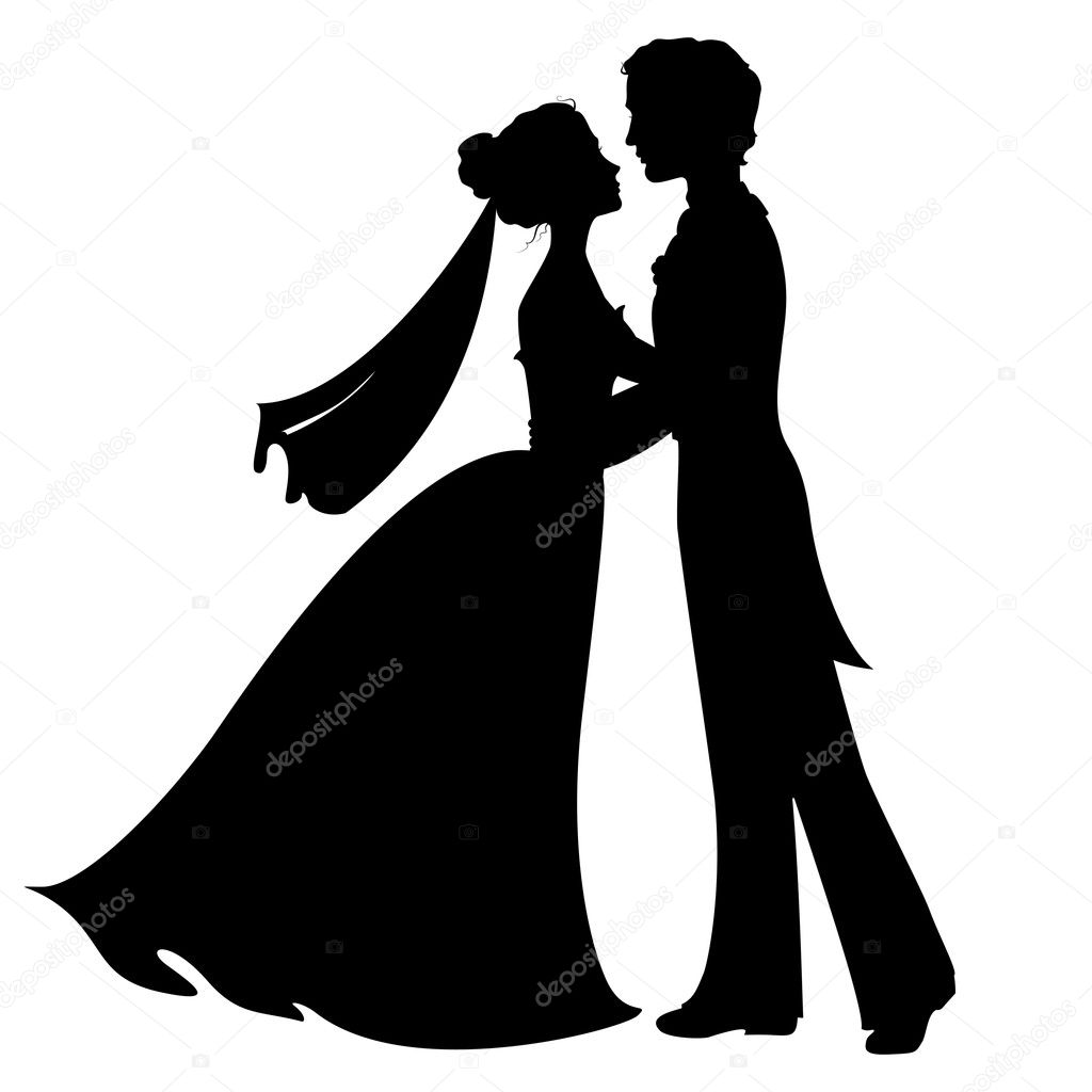 silhouettes of bride and groom stock vector olga lebedeva 42034789 rh depositphotos com bride and groom silhouette vector free download bride and groom vector illustration