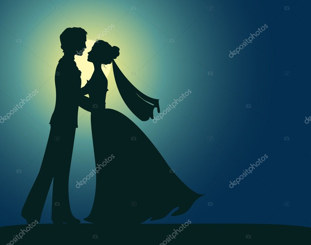 Silhouettes of bride and groom clipart vector