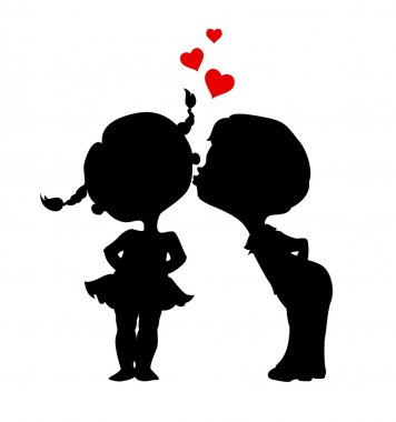Silhouettes of kissing boy and girl. Eps 8 vector illustration stock vector