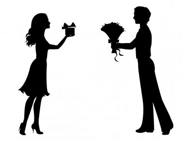 Silhouettes of man and woman with gifts stock vector