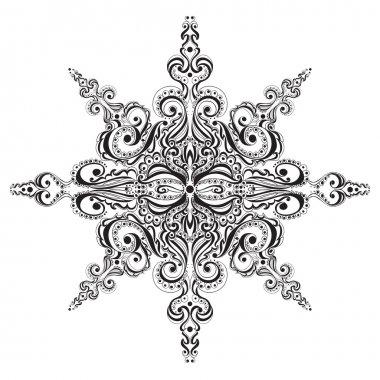 Ornamental black and white snowflake. Tattoo pattern clip art vector