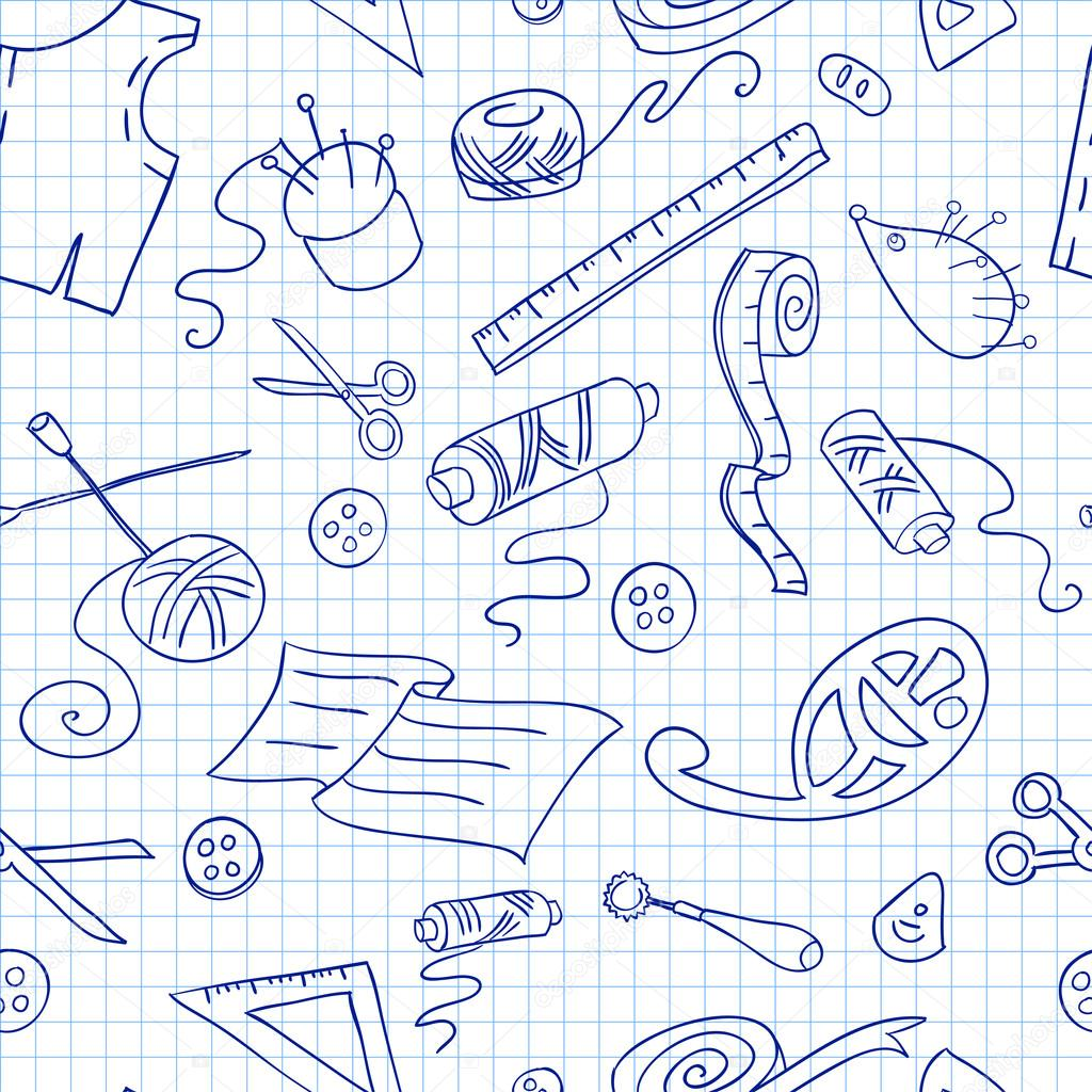 Seamless background with sketches of sewing tools