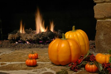 Pumkins at the Fire Place