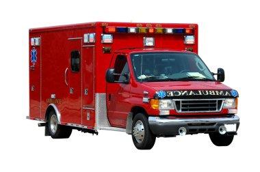 Beyaz bir arka plan üzerinde izole ambulans