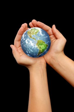 Hands holding the world