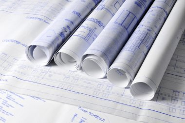 Rolls of architectural blueprins on a table