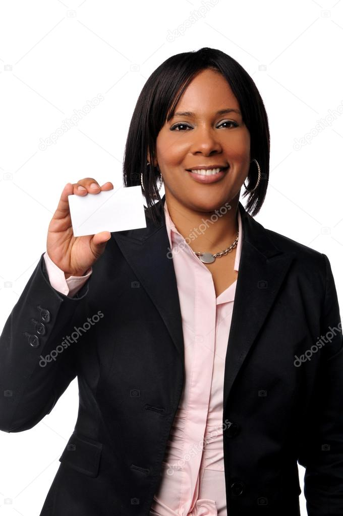 Black woman with business card