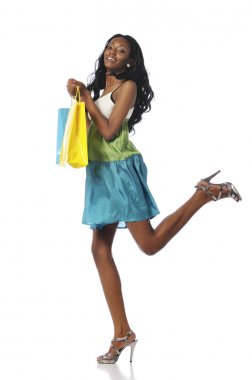 Black woman with shopping bags