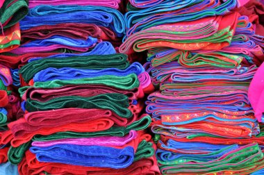 Textiles at the indian market in Peru