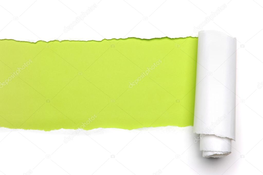 Torn Paper showing green background