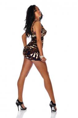 Young Black Woman wearing a short dress