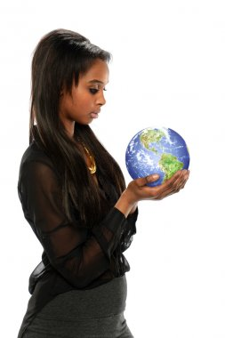 Young Black Businesswoman holding the earth