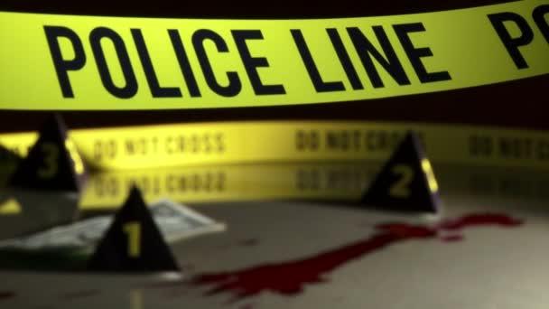 del crimine, linea di polizia, macchie di sangue
