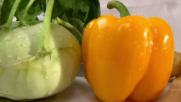 Vegetables, pan left