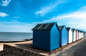 Světlé pláže chaty na felixstowe, suffolk, Anglie, Velká Británie