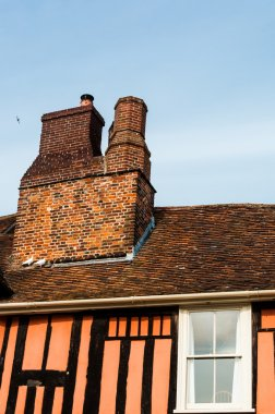 Close up of a chimney of a timber cottage, UK
