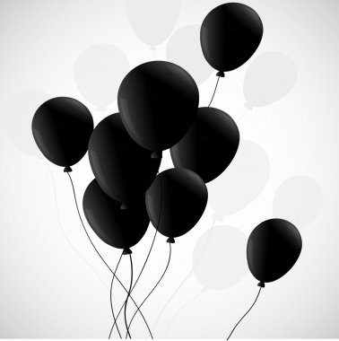 Black balloons on white background