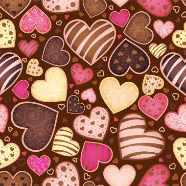 Seamless chocolate pattern with sweetmeat heart