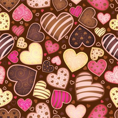 Seamless chocolate pattern with sweetmeat in form heart clip art vector
