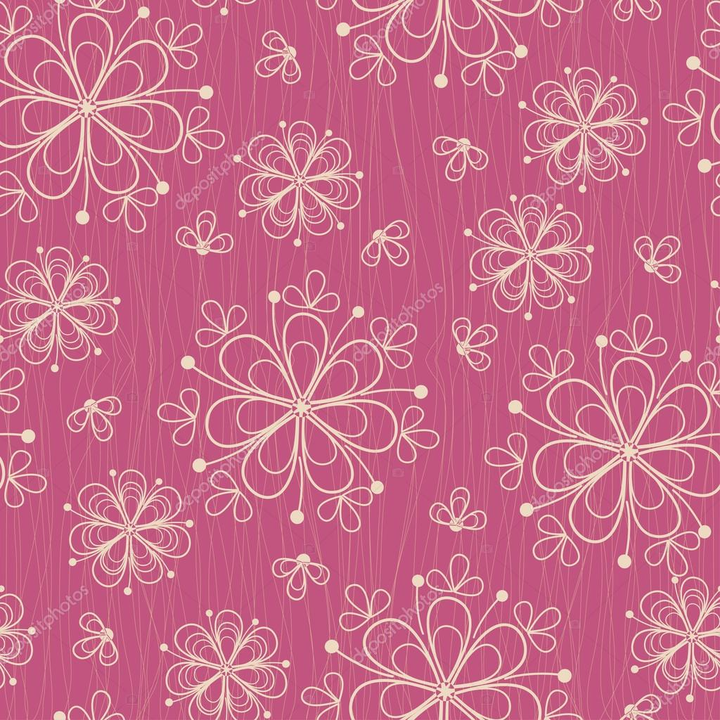 Seamless pattern with flowers on rose background