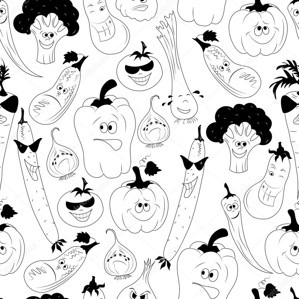 Vector seamless pattern with vegetables
