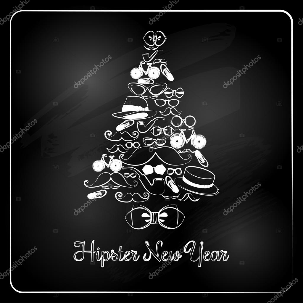 hipster christmas tree on chalkboard background stock vector