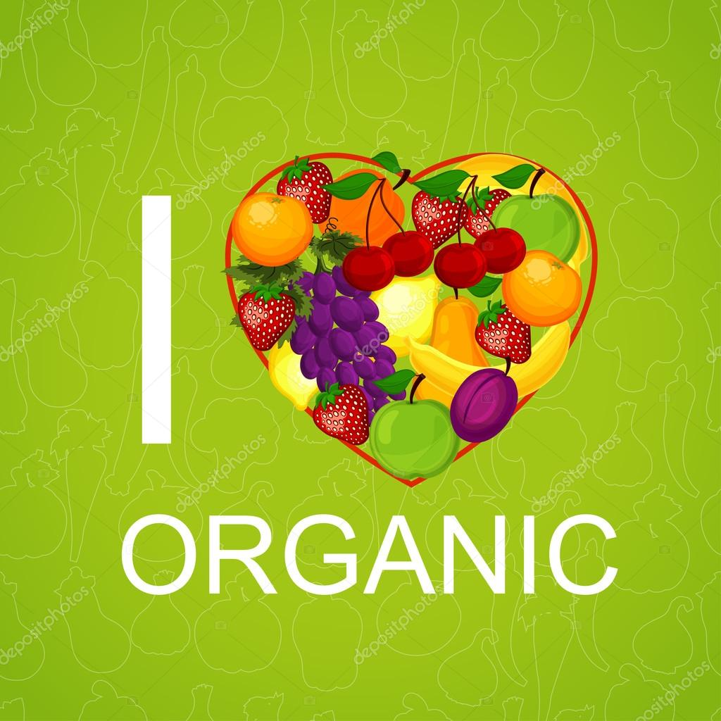 I love organic food an illustration