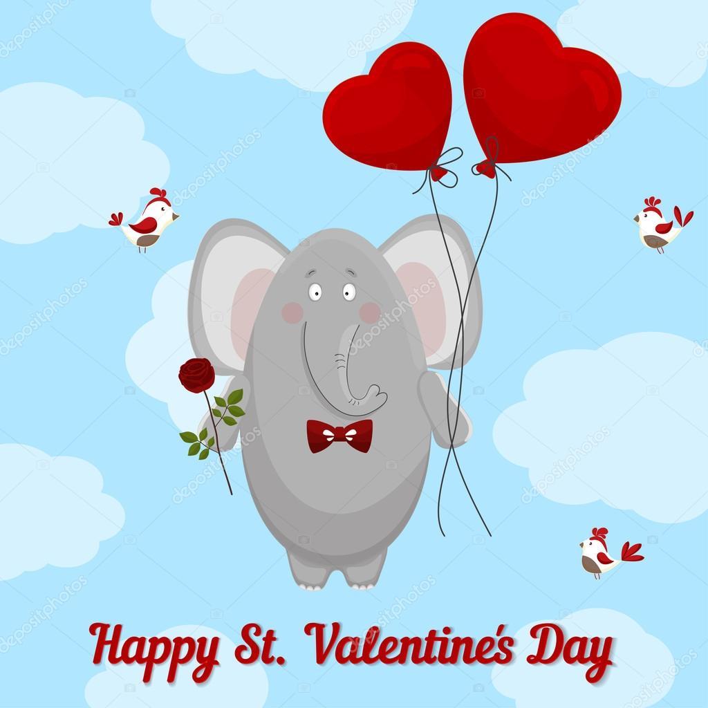 На день святого валентина открытку в розовых слонах