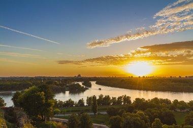 Sunset in belgrade,Serbia,pan oramic view