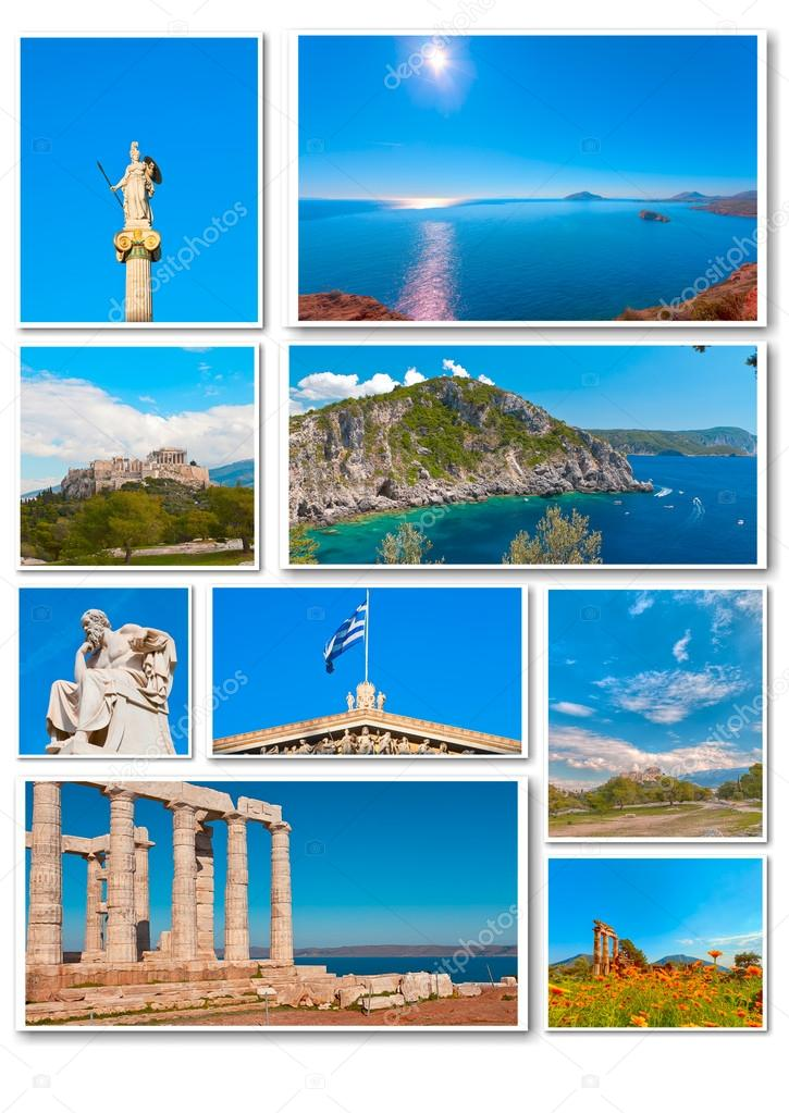 Collage of photos from Greece