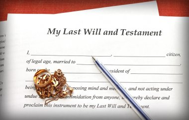 Last Will and Testament form with gold jewelry on red background