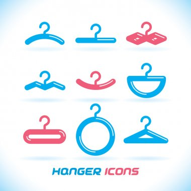 Vector Glossy Hanger Icons, Button for Baby, Child, Children, Teenager, Family, Home, Bathroom, Wardrobe
