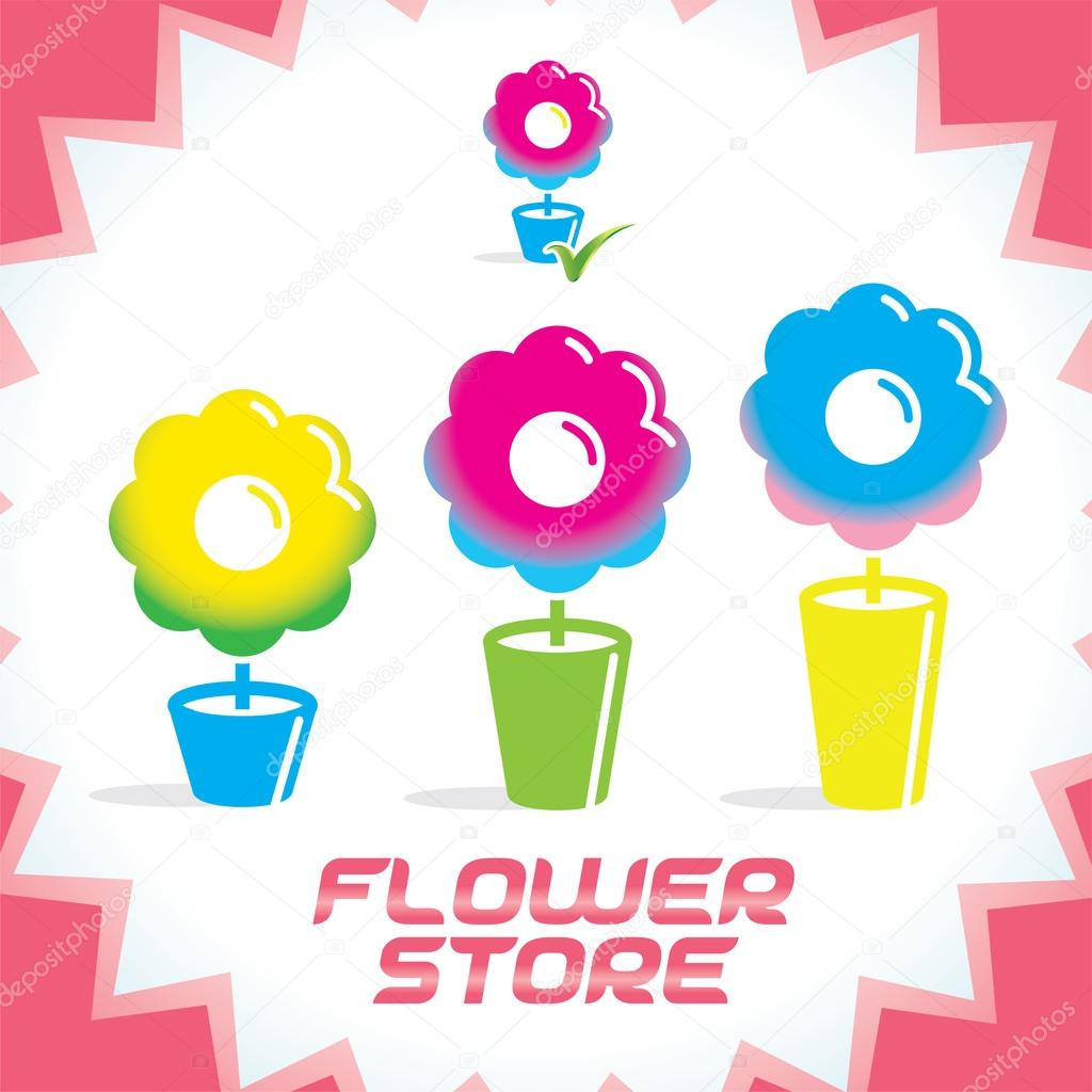 Vector Colorful Gradient Glossy Flower Shop Icons, Sign, Button for Family, Children, Women, Present, Holiday, Date