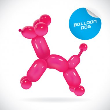 Glossy Balloon Dog Illustration, Icons, Button, Sign, Symbol, Logo for Baby, Family, Children, Teenager