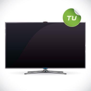 Black Glossy LCD TV - Samsung, LG, SONY, Panasonic, Sharp style Illustration, Sign, Button, Logo With Sticker