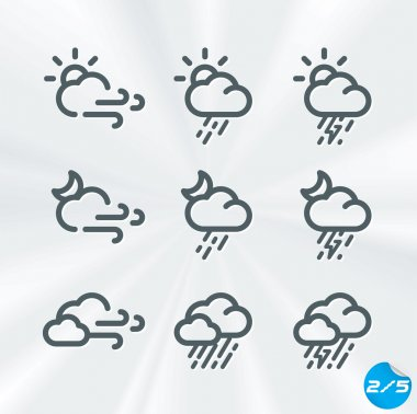 Vector Weather Icons Collection, Button, Sign, Symbol, Emblem, Sticker, Badge, Logo for Web Design, User Interface, Baby, Children