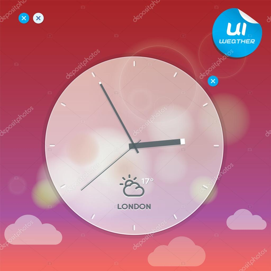 Vector Weather Widget Illustration, Button, Sign, Symbol, Emblem, Sticker, Badge, Logo for Web Design, User Interface, Mobile Phone, Baby, Children