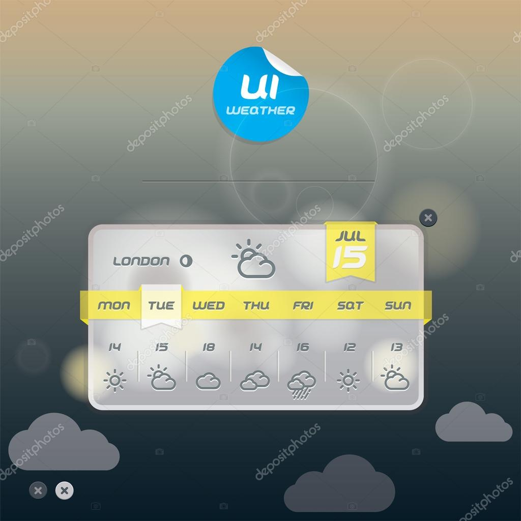 Vector Weather Widget, Button, Sign, Symbol, Emblem, Sticker, Badge, Logo for Web Design, User Interface, Mobile Phone, Baby, Children
