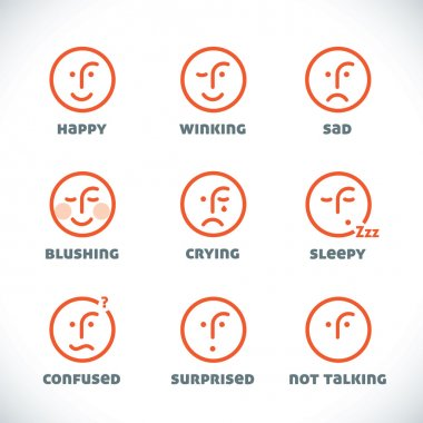 Glossy Smiles Icons Illustrations, Sign, Symbol, Button, Badge, Icon, Logo for Family, Baby, Children, Teenager