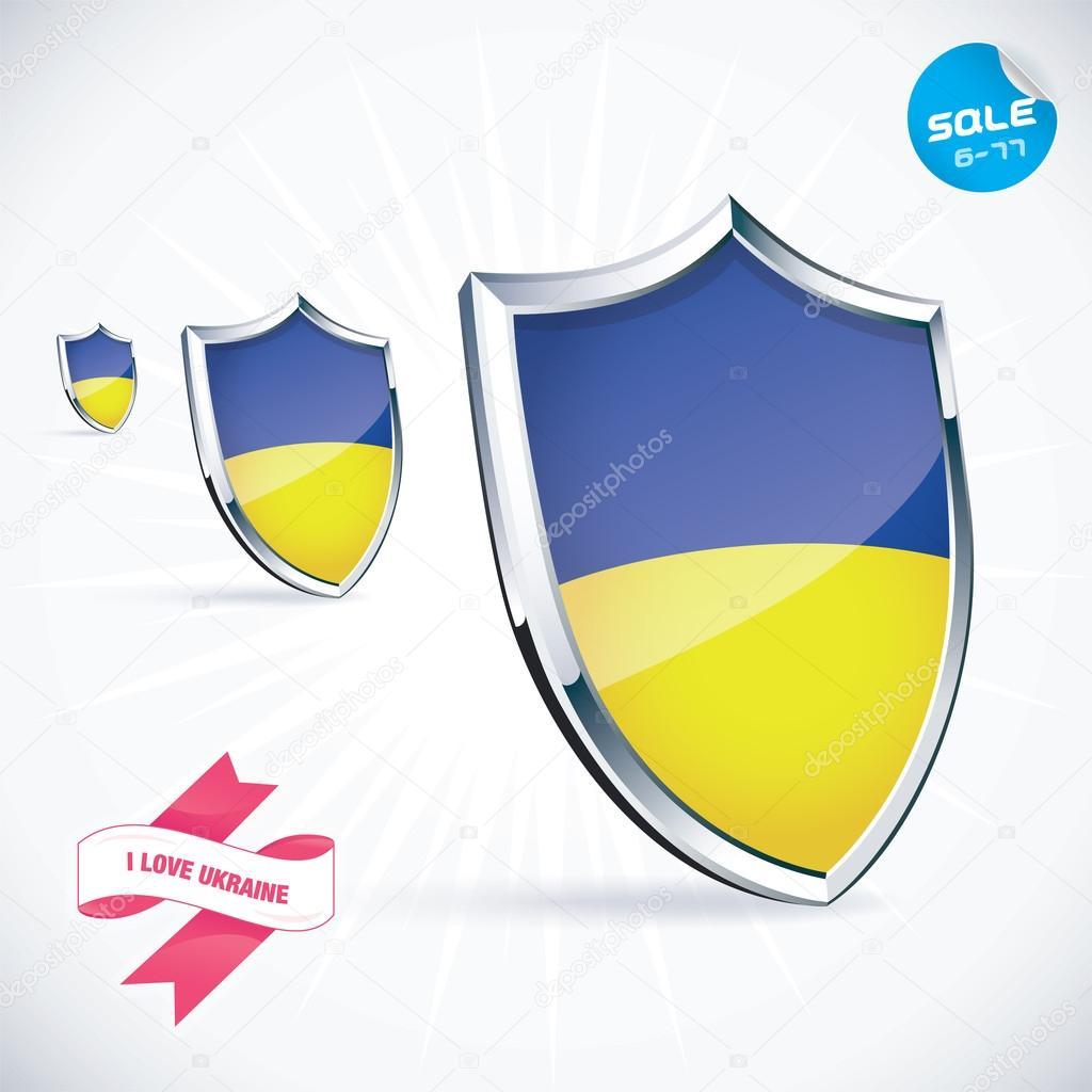 I Love Ukraine Flag Illustration Sign Symbol Button Badge Icon