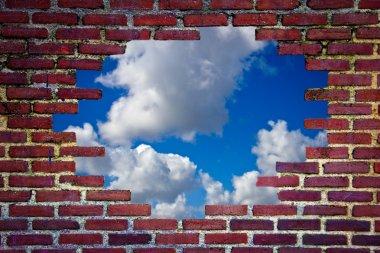 brick wall and blue sky