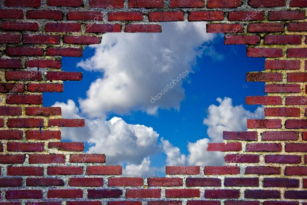 brick wall and blue sky