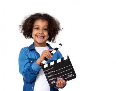 Little girl with movie slate