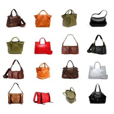 A woman's handbag on a white variety.