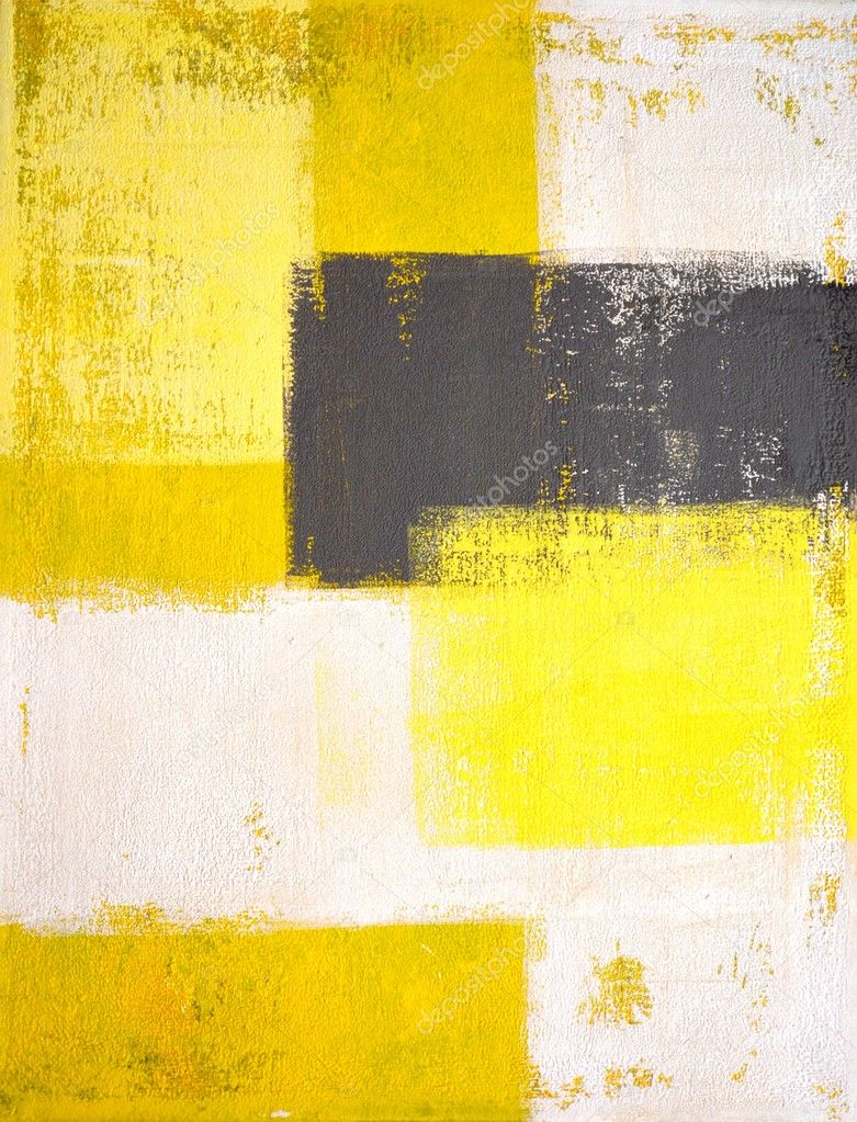 Grey and Yellow Abstract Art Painting — Stock Photo ...Yellow Abstract Painting